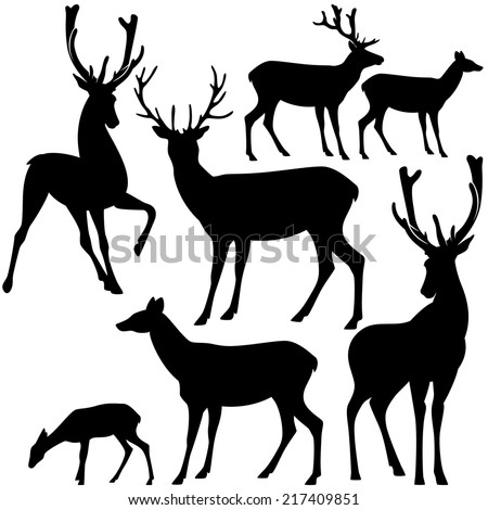 deer black and white silhouette