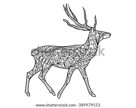 Deer Coloring Book For Adults Vector Illustration Anti Stress Adult Zentangle