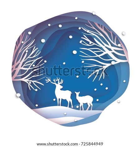 Deer couple in snowy forest. Merry Christmas Greeting card. Origami snowy winter season. Happy hplidays. New Year. Paper art style. Birch tree trunk. Blue background. Vector