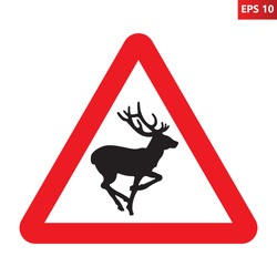 Deer crossing traffic sign. Vector illustration of red triangle warning road sign with deer icon inside. Wild forest animals likely to be in road ahead.