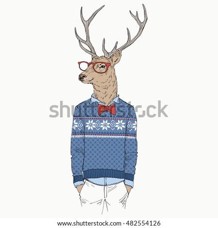 deer dressed up in jacquard