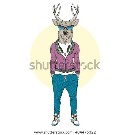 deer dressed up in sporty style