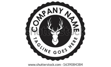Deer elk moose sambur antler horn rack spike vintage retro badge logo emblem design Stok fotoğraf ©