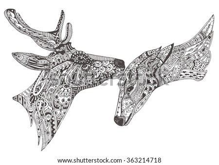deer family couple hand drawn