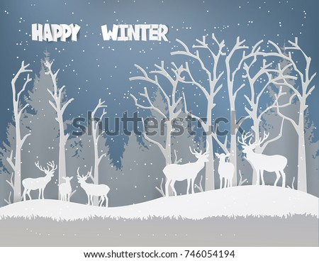 deer family  in forest with