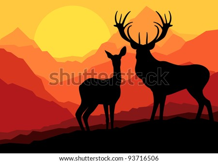 deer family in wild mountain