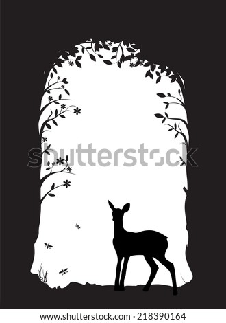 deer  fawn in the forest  black