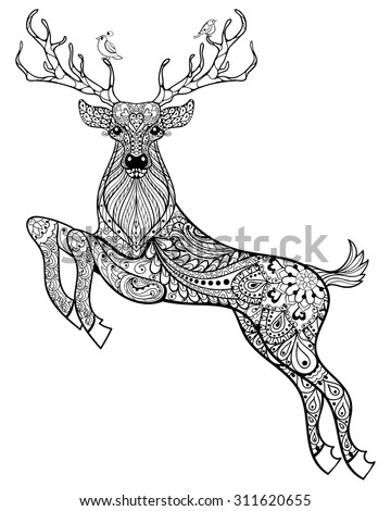 deer hand drawn christmas