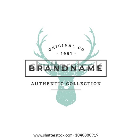 Deer hand drawn logo isolated on white background vector illustration for labels, badges, t-shirt and other design.