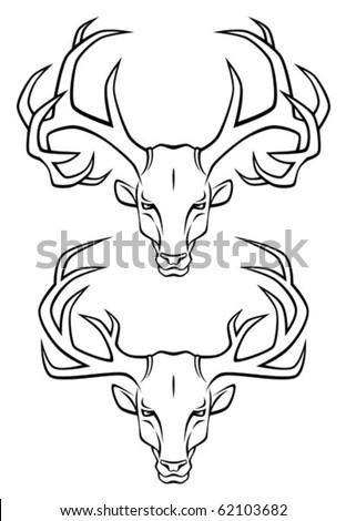 heraldic deer head logo.