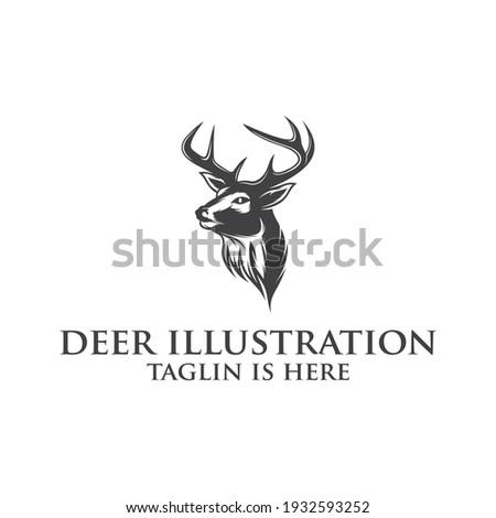 Deer head creative design logo vector. Deer illustration ,Abstract Deer Head Logo Design. Vector illustration. Stylized geometric shape deer logotype.