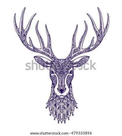 deer head isolated on white...