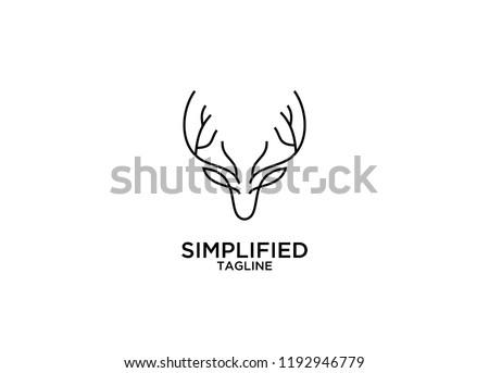Deer Head Line Elegant Logo Icon Designs Vector