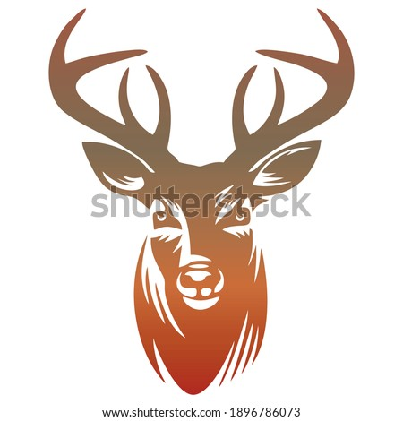 Deer Head Silhouette Vector Illustration. Colorful Deer Head Isolated On White Background. Deer Head Logo Template Idea