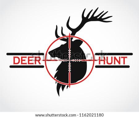 deer hunt black red logo Stockfoto ©
