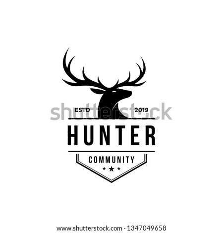 deer hunter logo, badge, emblem, label design template. vector illustration of deer head silhouette and arrow. hunter club, deer hunting symbol icon