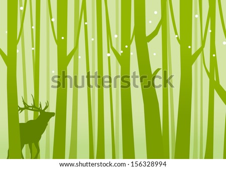 Deer in Forest Green. Deer on a background of Forest Green. Vector illustration.