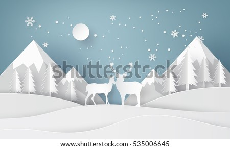 deer in forest with snow and