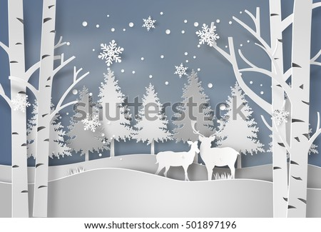 deer in forest with snow in
