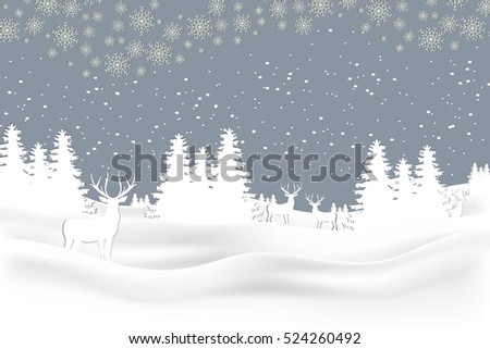 Deer in forest with snow in christmas. Winter landscape. Flat art style