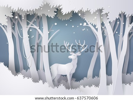 Deer in forest with snow.vector paper art and  digital craft style.