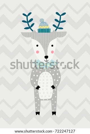 Deer in Scandinavian style. Vector illustration. Funny, cute poster.