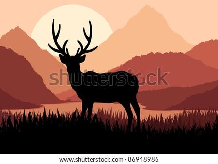 Deer in wild nature landscape illustration