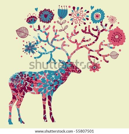 Deer made of flowers