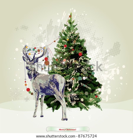 deer near christmas tree with garland detailed illustration - stock vector