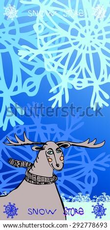 deer of snowland doodle logo