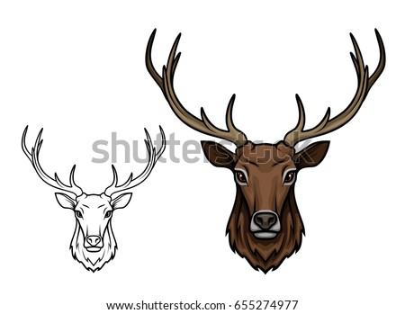 Deer or reindeer sketch vector icon. Wild forest stag or elk with antlers. Isolated wildlife fauna and zoology symbol or emblem for blazon for hunting sport team, nature adventure scout club