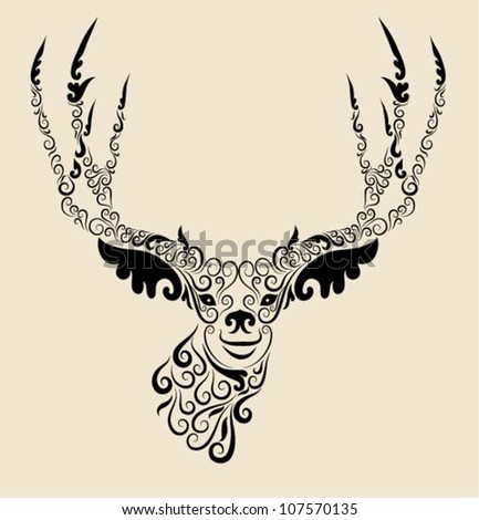 Deer ornament. For tattoo or t-shirt design. Animal drawing with floral ornament