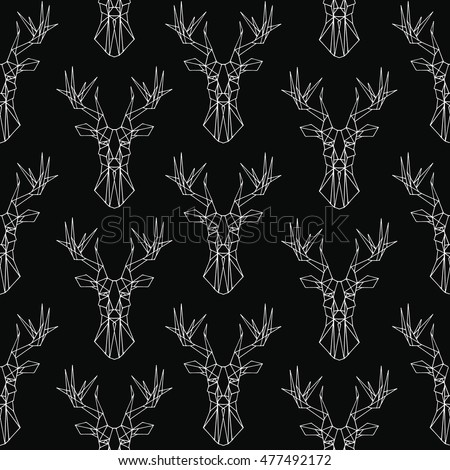 deer pattern on black background vector seamless texture magic