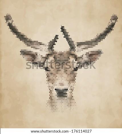 deer portrait made of