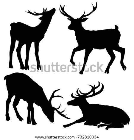deer silhouette ,vector, illustration
