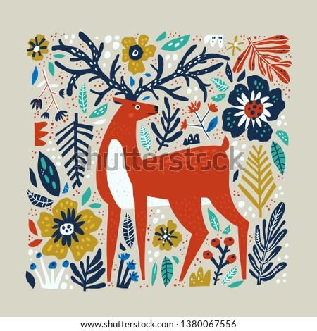 deer vector hand drawn
