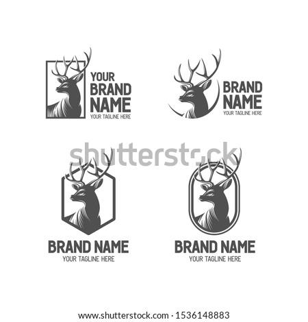 Deer vintage logo collection. Antler badge illustration. Set of bucks head plaque. Deer antlers shilhouette set. Vintage wildlife logo. Deer head logo collection. Eps10.