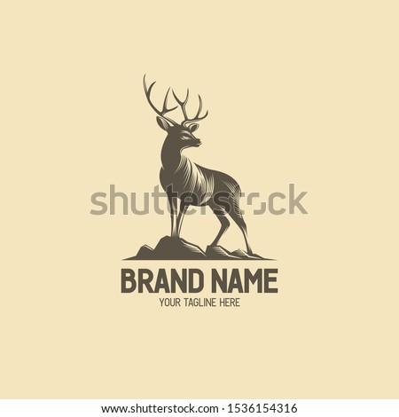 Deer vintage logo collection. Antler badge illustration. Standing buck logo. Deer antlers shilhouette. Vintage wildlife logo. Deer on hills illustration. Eps10.