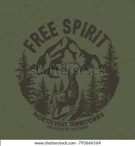 Deer. Wild deer. Vintage illustration typography t-shirt printing.