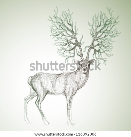 Deer with antlers like Christmas tree Surreal vector sketch