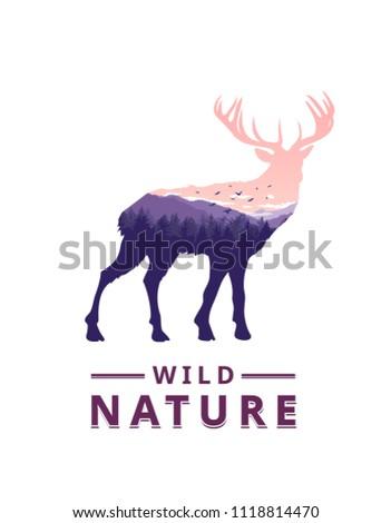 stock-vector-deer-with-wild-nature-landscape-inside