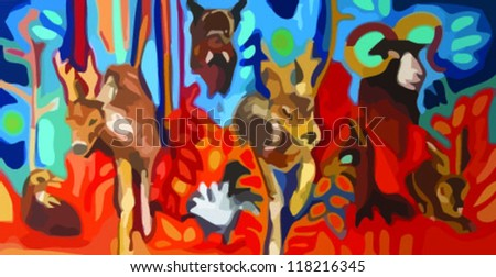 deers, forest, colorful painting