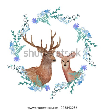 deers in love watercolor coat