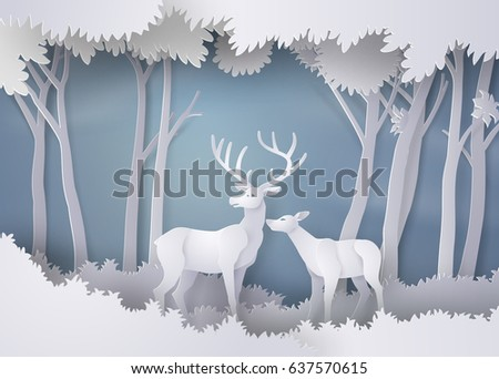 deers in the forest.paper art and  digital craft style