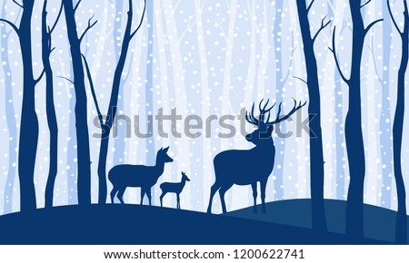 deers in the forest winter