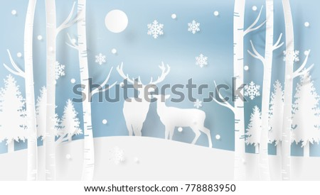 Deers walking in forest in winter period, snowflakes falling down on ground, trees of different type, wildlife isolated on vector