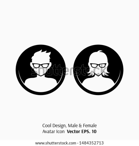 Default Avatar Icon or Profile Picture of Both Geek Male and Female Character Wearing Glasses for Social Media, Blog, Forum and Game