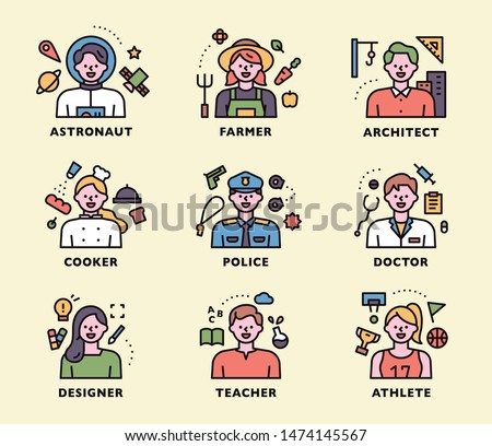 Default image of various occupational characters. Icon set. flat design style minimal vector illustration.