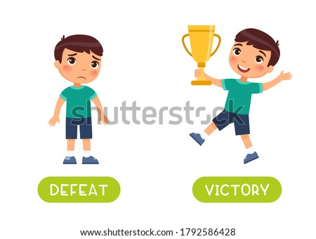 Defeat and victory antonyms word card vector template. Flashcard for english language learning. A sad boy has lost, a child with a golden cup in his hands has won and is happy. Stock photo ©