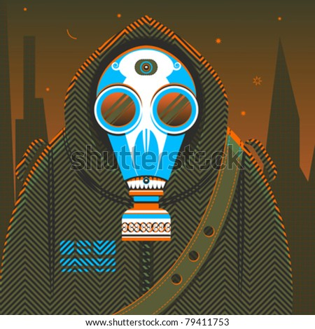 Defence. The fantasy person in protective clothes with a gas mask, being in radioactive environment. Vector illustration.